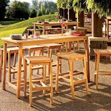 wood patio bar set. Oxford Garden Dartmoor 6-person Wood Patio Bar Set - Natural By Garden. $1852.20. Includes: Table, 6 Stools. U