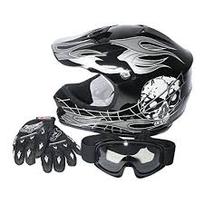 tcmt dot youth kids motocross offroad street helmet black skull