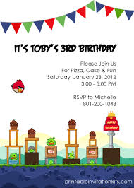 Angry Birds Birthday Party Invitation Wedding Invitation