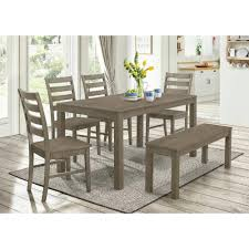 grey wood dining chairs. Walker Edison Furniture Company Homestead 6-Piece Aged Grey Wood Dining Set Chairs -