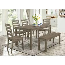 homestead 6 piece aged grey wood dining set