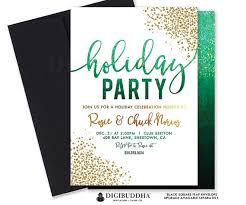 Printable Holiday Party Invitations Green Ombre Holiday Party Invitation Printable Holiday Party