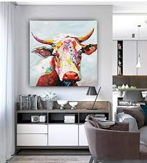 colorful cow paintings canvas wall art