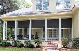 stately columned porch resplendent with new blinds