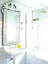 mirrored tile antique mirror subway tiles wall bathroom transitional with window glass shower retro australia mirr
