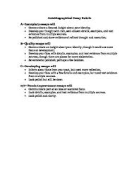 autobiographical essay rubric identity unit summative assessment