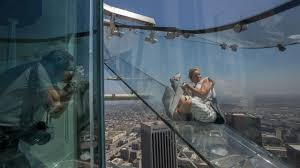 See Through Glass Terrifying See Through Skyslide Opens In Los Angeles Photos