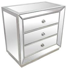 Silver Mirrored Glass Bedroom 3 Drawer Nightstand Contemporary