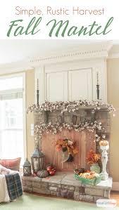 these fall fireplace mantel decorating ideas combine cedar wood cotton bolls pumpkins lanterns