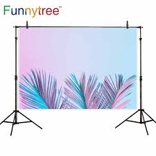 Us 9 58 31 Off Funnytree Photocall Boda Backdrop Pink Blue Gradient Tropical Leaves Fashion Summer Birthday Background Photography Wallpaper In