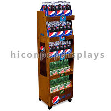 Free Standing Shop Display Units Movable Solid Wood Cola Display Stand Freestanding Drinks Shop 62