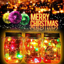 multi color outdoor solar jar design. 2 Pack Solar Mason Jar Lights 10 LED Multi-Color String Fairy Hanging Light Multi Color Outdoor Design