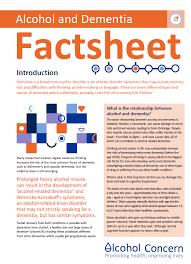 dementia fact sheet alcohol and dementia factsheet safe in warwickshire