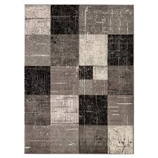 city collection contemporary faded geometric checd grey black 5 ft x 7 ft indoor