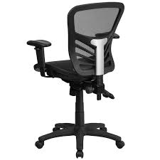 triple seated home office area. Ergonomic Home Mid-Back Black Mesh Executive Swivel Chair With Seat And Back, Multi-Function Triple Paddle Control Height Adjustable Arms Seated Office Area