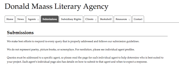 donald maass literary agency cover letter for poetry submission