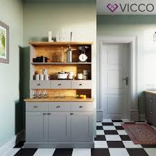 Vicco Küchenschrank Cambridge Vitrine Buffet Küchenregal Landhaus Eiche Graueiche