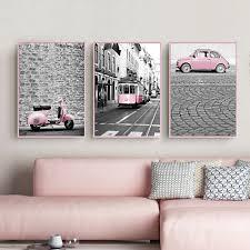 Nordic Roze Meisje Serie Canvas Schilderij Zwart En Wit Fotos Auto