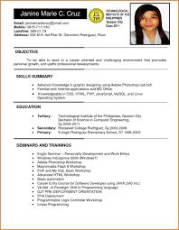 Resume Templates Pia Teacher Examples Applicant Sample Filipino