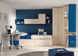 blue and white wall kids corner and wall decor with wooden cabinet on the cream modern ideas