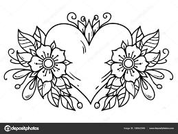 タトゥー ピンクのハートにはリボン青い花葉が飾られています