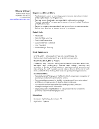 Stocking Resume Examples Retail Store Clerk Sample Resume Shalomhouseus 17