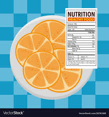 orange with nutrition facts vector image