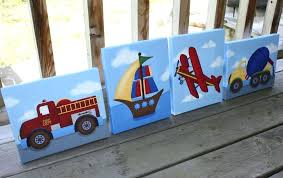 kid canvas wall art set of 4 transportation boys bedroom stretched canvases kids playroom baby nursery kid canvas wall art  on baby canvas wall art with kid canvas wall art ocean theme kids wall art boys wall art fish and