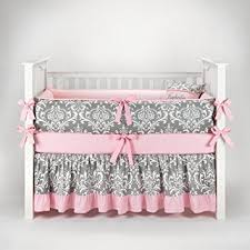 Amazon Damask Gray & Pink Baby Bedding 5pc Crib Set by