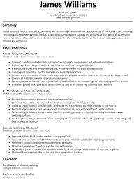 Sample Resume For Certified Medical Assistant Medical Assistant