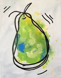 pear painting abstract fruit series green gray yellow whimsical art canvas 8 x 10 thank you for viewing my original art