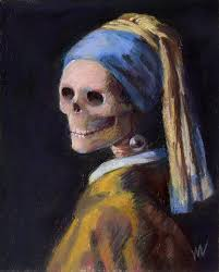 the skelly with a pearl earring marie marfia fine art