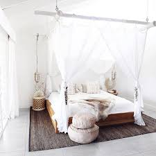 Hanging Bamboo Canopy Curtain Beams White Curtains Wooden Bed White ...
