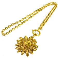 chanel vintage gold lion head medallion chain charm necklace for