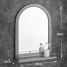 Solid Oak Arched Mirror 70cm x 50cm With Shelf