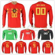 Best Football Jersey Design 2018 2018 Belgium Long Sleeve Jerseys E Hazard Lukaku Fellaini Kompany De Bruyne Mirallas Courtois Custom Red Belgian Soccer Football Shirt