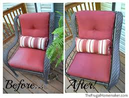 faded chair cushions refreshed with