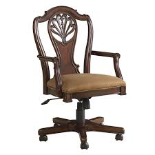 classic vintage brown varnishes teak wood swivel desk chair with decorative splat back and wooden seat padded usingabric coveri design office chair interior