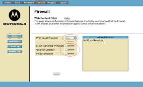 motorola 6580. firewall settings motorola 6580