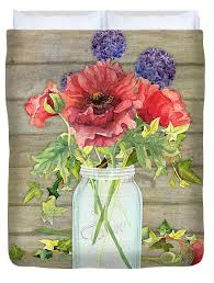 Rustic Country Red Poppy w Alium n Ivy in a Mason Jar Bouquet on Wooden  Fence Duvet Cover for Sale by Audrey Jeanne Roberts