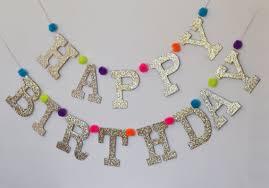Glitter Happy Birthday Letter Banner With Pom Poms Custom Colors