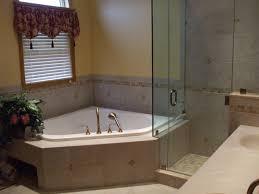 Corner Bathtub And Walk In Shower Combo Also Bathroom Window