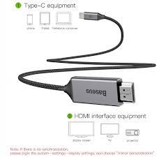 Cáp chuyển USB Type C sang HDMI Baseus hỗ trợ xuất Video 4K - 60Hz từ  Smartphone ra TV chính hãng 397,040đ