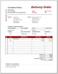 Excel Delivery Delivery Order Form Templates For Ms Word Excel Word