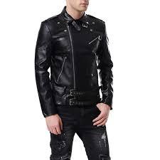 aowofs men s faux leather jacket double belt punk motorcycle slim fit leatherseason