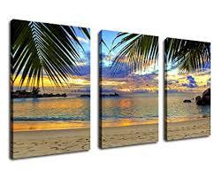 wall art beach sunset canvas artwork tropical ocean palm tree leaf beach coast large 3 on amazon beach canvas wall art with amazon wall art beach sunset canvas artwork tropical ocean palm