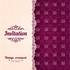 Invitation Card Template With Curly Border And Damask Background