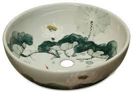 hand painted bathroom sinks uk. china furniture and arts - porcelain basin with lotus koi pond design bathroom sinks hand painted uk