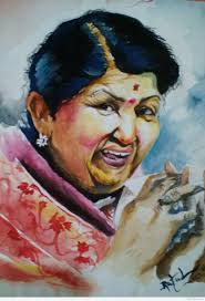 watercolor painting of the famous singer lata mangeshkar
