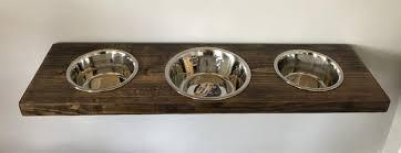 large 3 bowl floating wood elevated